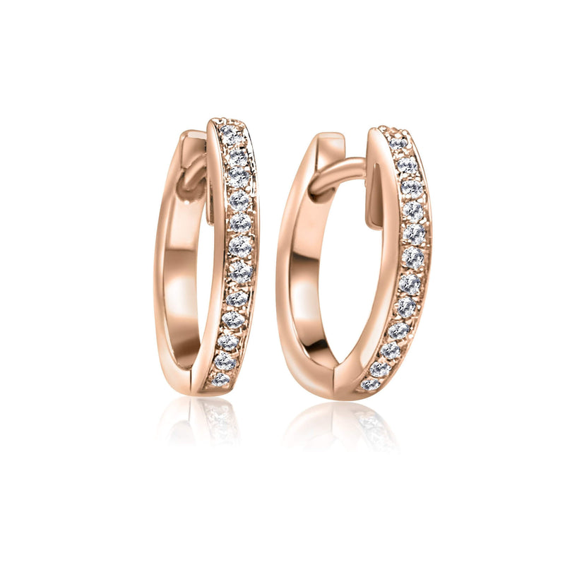 Diamond Huggie Earrings with 18K Rose solid gold