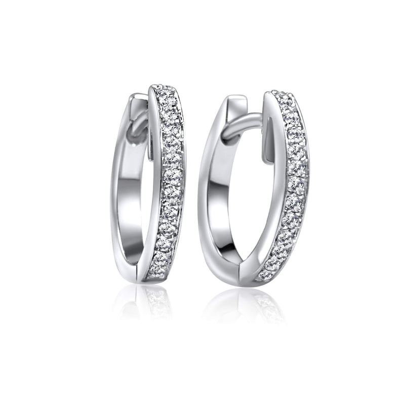 Diamond Huggie Earrings with 18K white solid gold