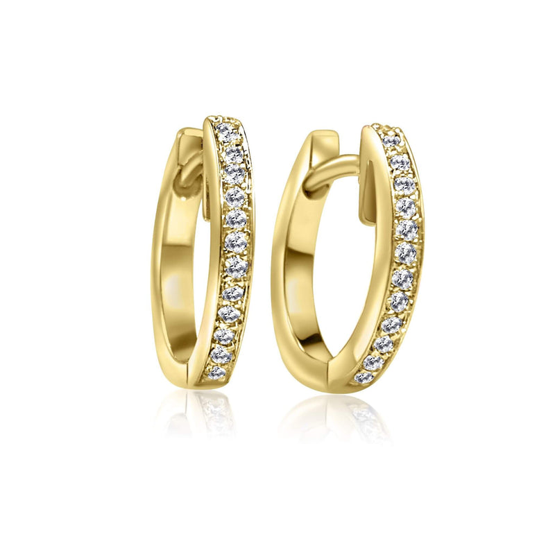 Diamond Huggie Earrings with 18K Yellow solid gold