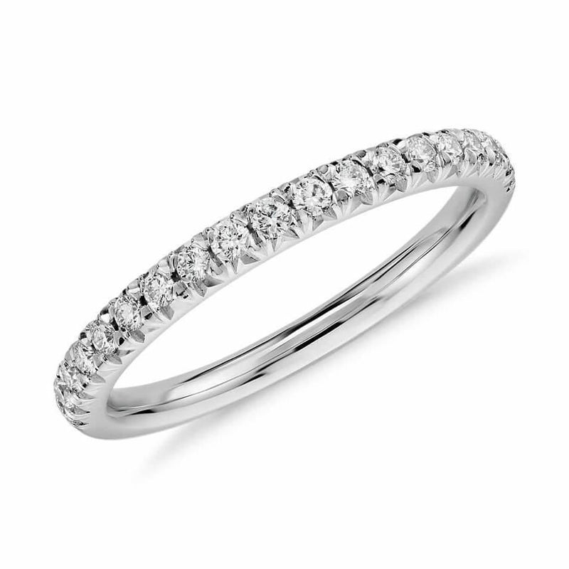 Half Pavé Diamond Ring in 18k solid white gold