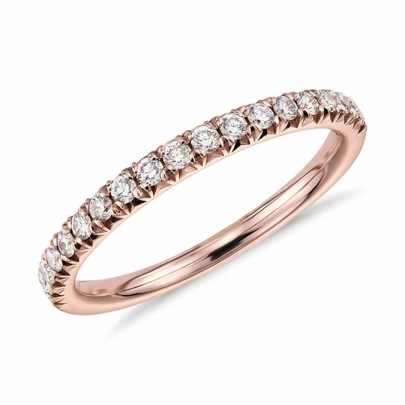 Half Pavé Diamond Ring in 18k solid rose gold