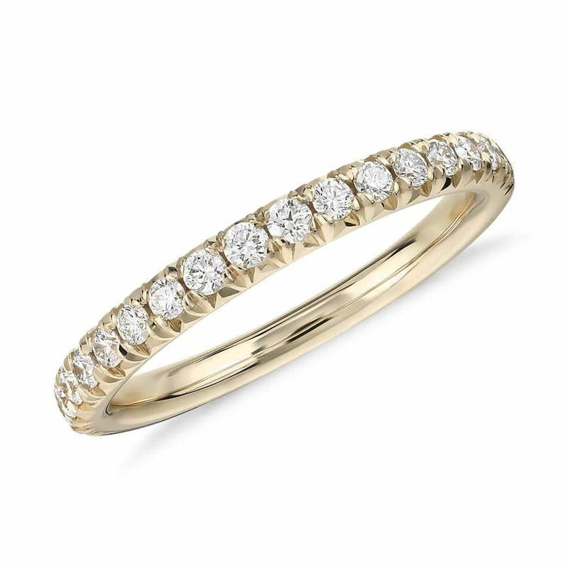 Half Pavé Diamond Ring in 18k solid yellow gold