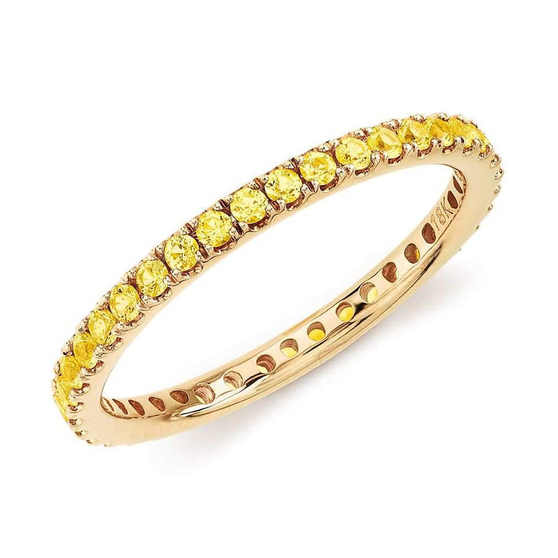 18K gold band of yellow sapphire stones perfect for stacking. 3/4 band with ~2mm width.  Available in yellow, rose and white gold.