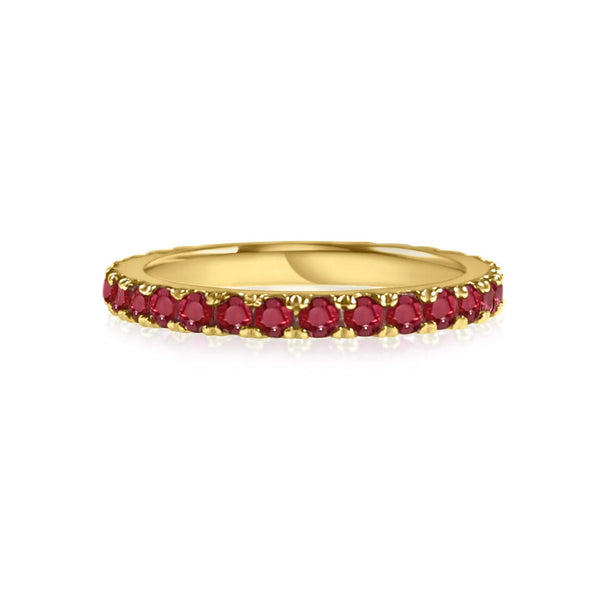 18K solid gold band of Rubies perfect for stacking. Band width ~2mm.
