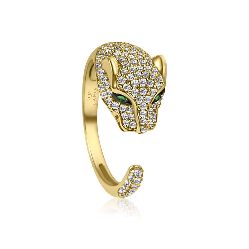 One of a kind Jaguar diamond ring, the ultimate statement piece, handmade and delicately crafted to bring forward every detail of the design. Simple open ring with dispersed diamonds and emerald eyes. 18k solid Gold