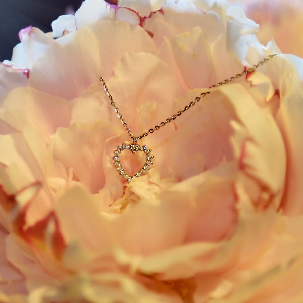 18K solid gold heart necklace with diamonds, perfect for layering. Available in yellow, rose and white gold