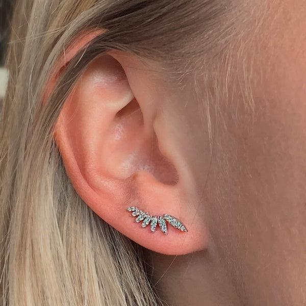 Diamond Climber Earrings with 18k White solid Gold