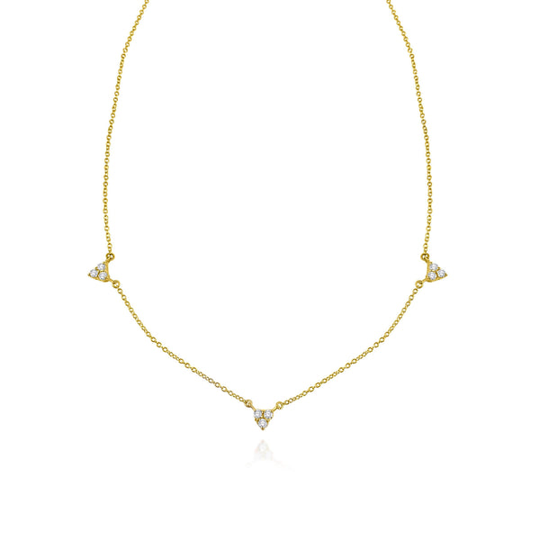 "A classic must-have to complement any look, this diamond 18k gold necklace features 9 diamond droplets in an elegant set up to add a delicate shine to your ""décolleté"". Wear it alone or layered! Available to order in rose, white and yellow gold with an adjustable chain at 14 & 16 inches."