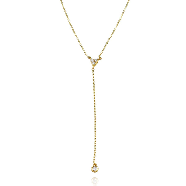 Simple trio dangling chain necklace with 4 round Diamonds and 18K Yellow Solid Gold. Perfect for Layering