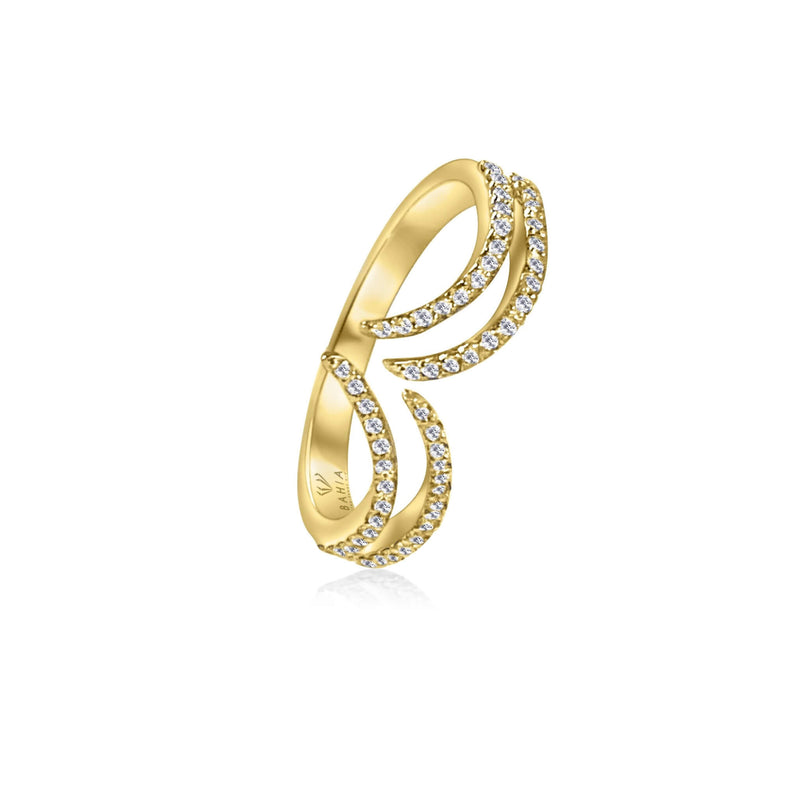 Gorgeous open Wave diamond ring is a statement piece that is easy to wear and can elevate your look instantly. 54 stones of total carat weight: ~0.4 carat.  Available in yellow, white and rose 18k gold.