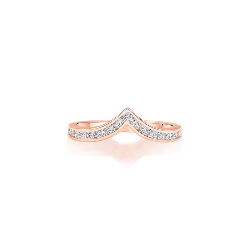 Simple crown shaped diamond ring with 18k Rose Solid Gold