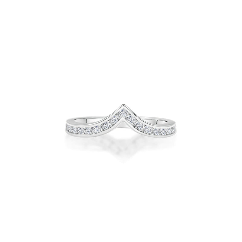 Simple crown shaped diamond ring with 18k white Solid Gold