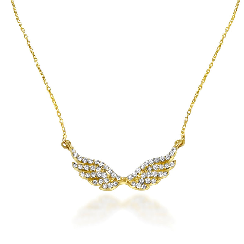 Angelique Wings diamond necklace 18K solid yellow Gold