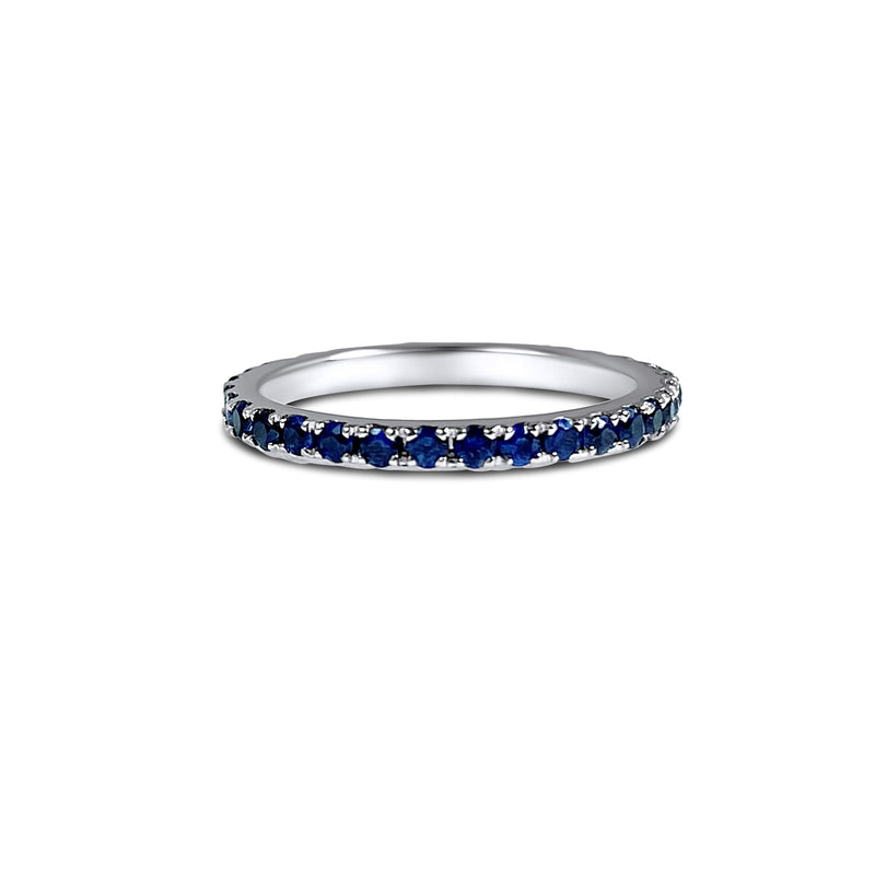Blue Sapphire 18K sold white gold ring