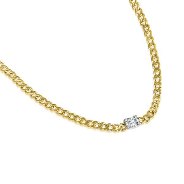 Solid Gold Curb chain choker embellished with baguette diamonds
