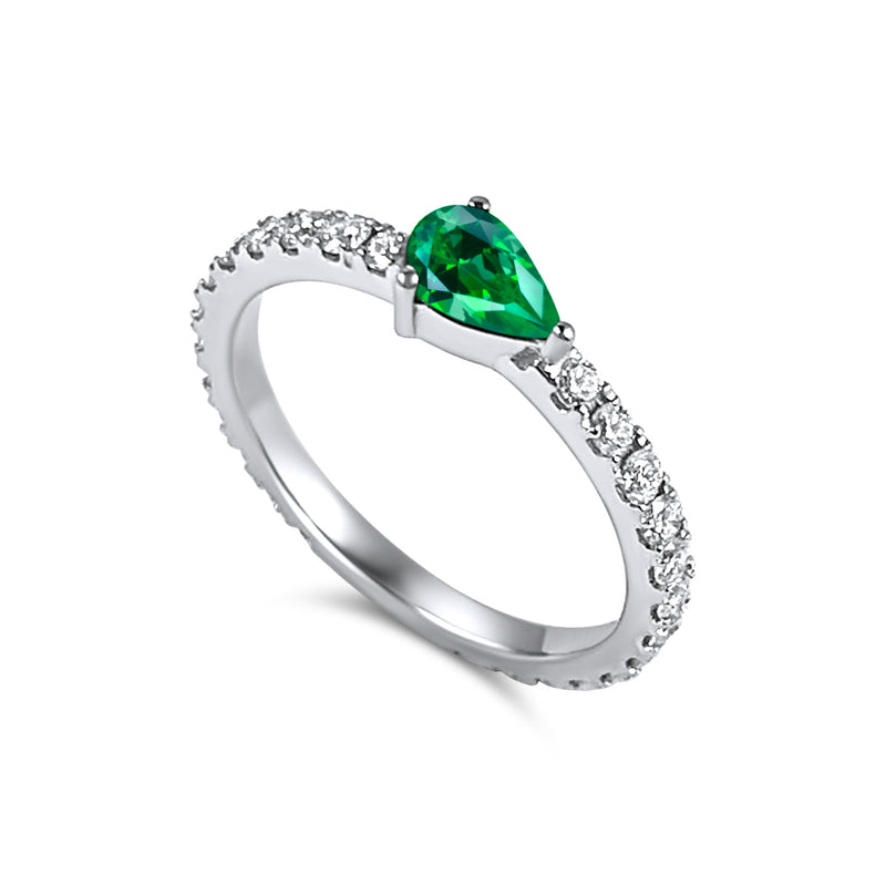 Full diamond Eternity band with a pear shaped Emerald Birthstone. 18K gold