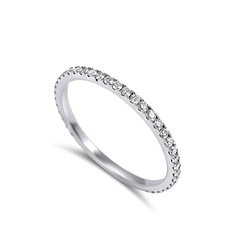 18k Pure Gold and ~0.36ct Diamonds.  Very elegant 1mm thin Eternity Diamond Ring - Available in White, Rose & Yellow gold. Wear it alone or stacked.. It is small and delicate but its shine is unmissable.
