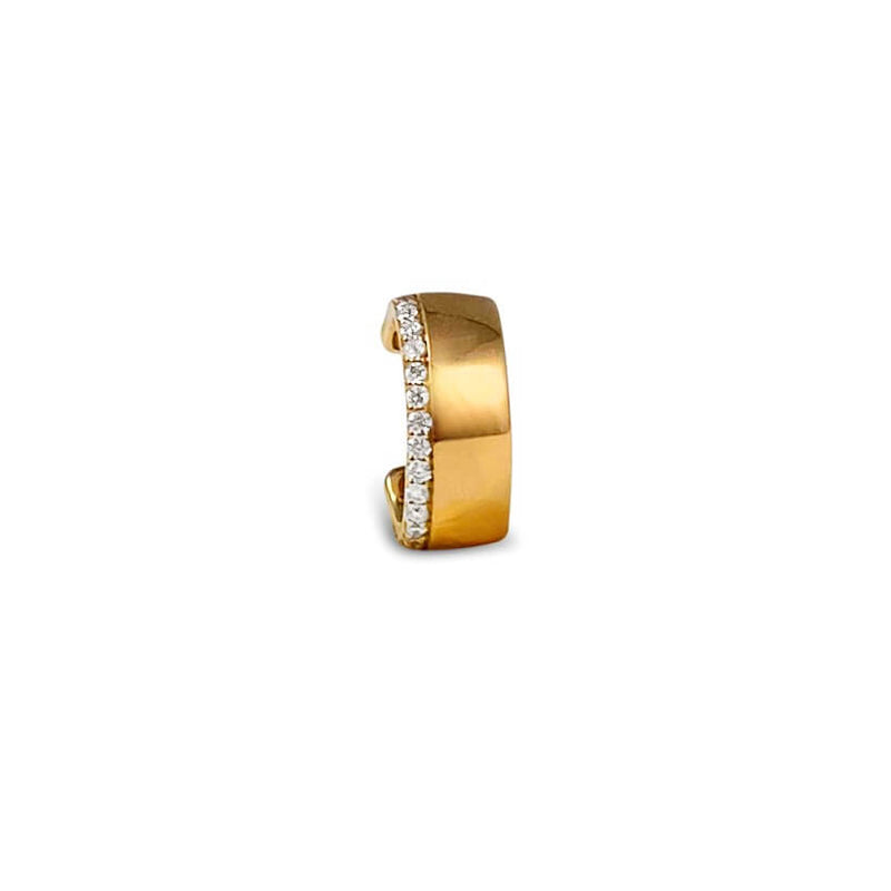 18k Solid Gold and 20 Diamonds . Fits most ears, no piercing required! Available in yellow, rose and white gold.