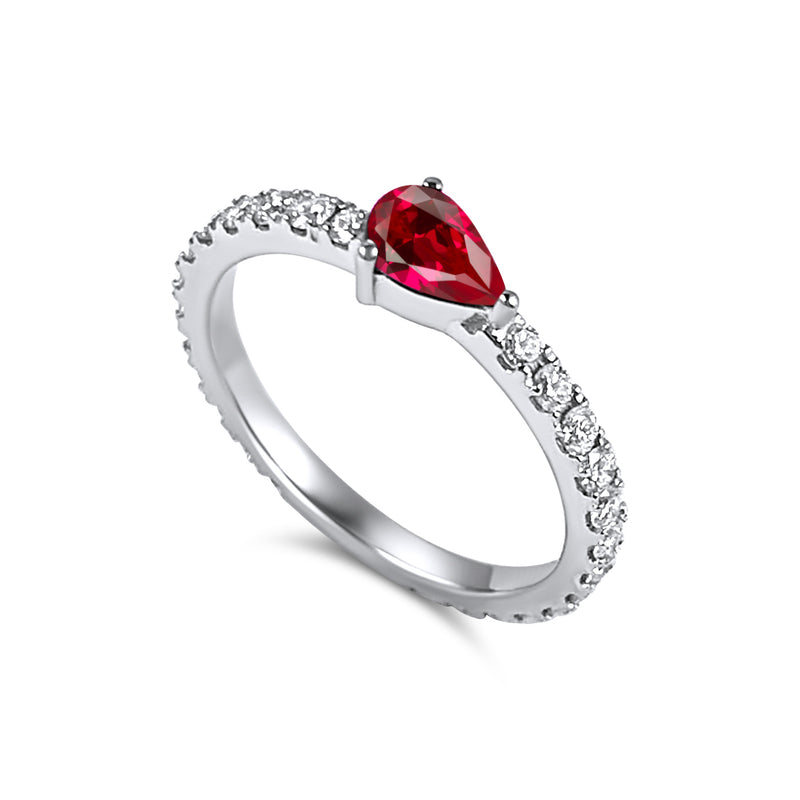 Full diamond Eternity band with a pear shaped ruby Birthstone. 18K gold
