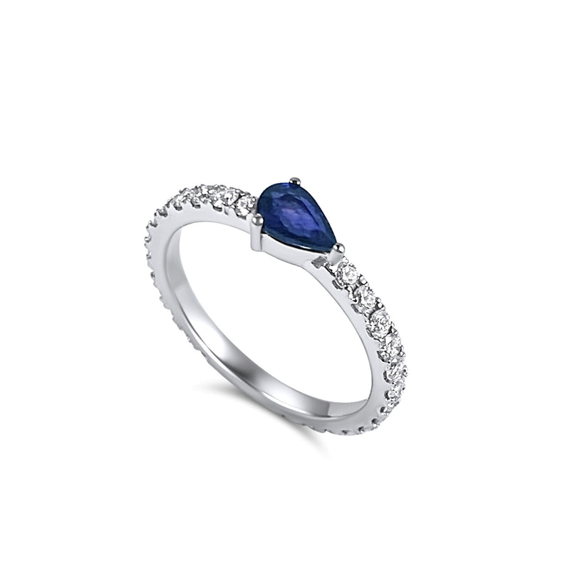 Full diamond Eternity band with a pear shaped blue sapphire Birthstone. 18K gold