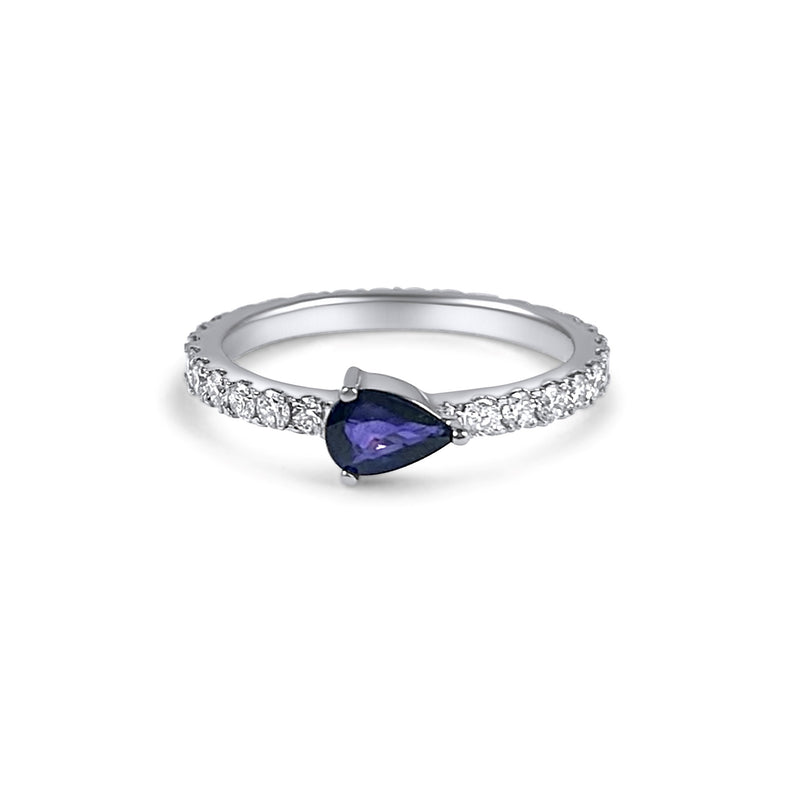 Full diamond Eternity band with a pear shaped blue sapphire Birthstone