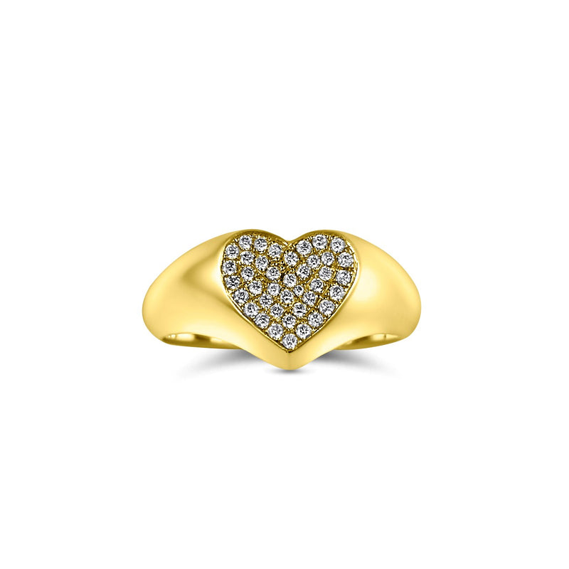 Diamond Pave Signet pinky Ring in 18k Yellow Gold