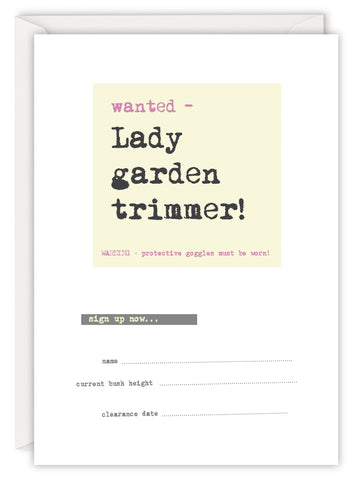 Wanted - Lady garden trimmer!