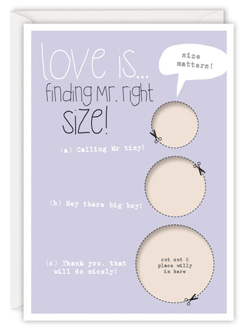 Love is… finding Mr right size!