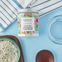 Load image into Gallery viewer, FLORA & CURL Coconut Mint Curl Refresh Clay Wash (260g)