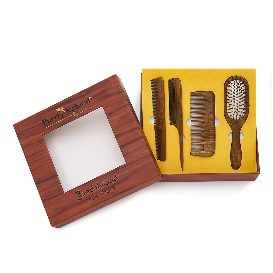 HAND CRAFTED SANDALWOOD Six Comb & Brush Set