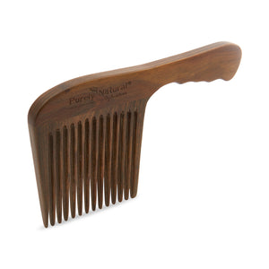 HAND CRAFTED SANDALWOOD Long-handled Wide Toothed Comb
