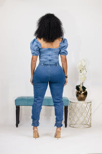 Hey Sweetheart Denim Bodysuit - Light Wash