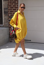 Load image into Gallery viewer, Balloon Mustard Drawstring Dress