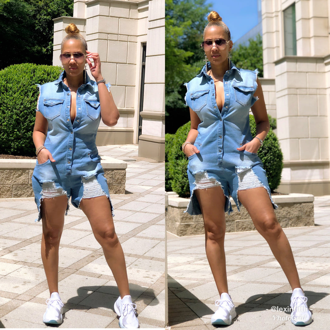 Denim Destroyer Romper