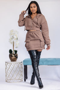 All This Cargo Skirt Set - Brown