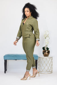 Zipped Up Olive Jumpsuit