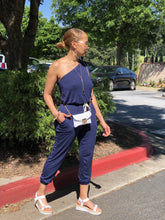 Load image into Gallery viewer, Crop Over Jogger Jumpsuit - Navy