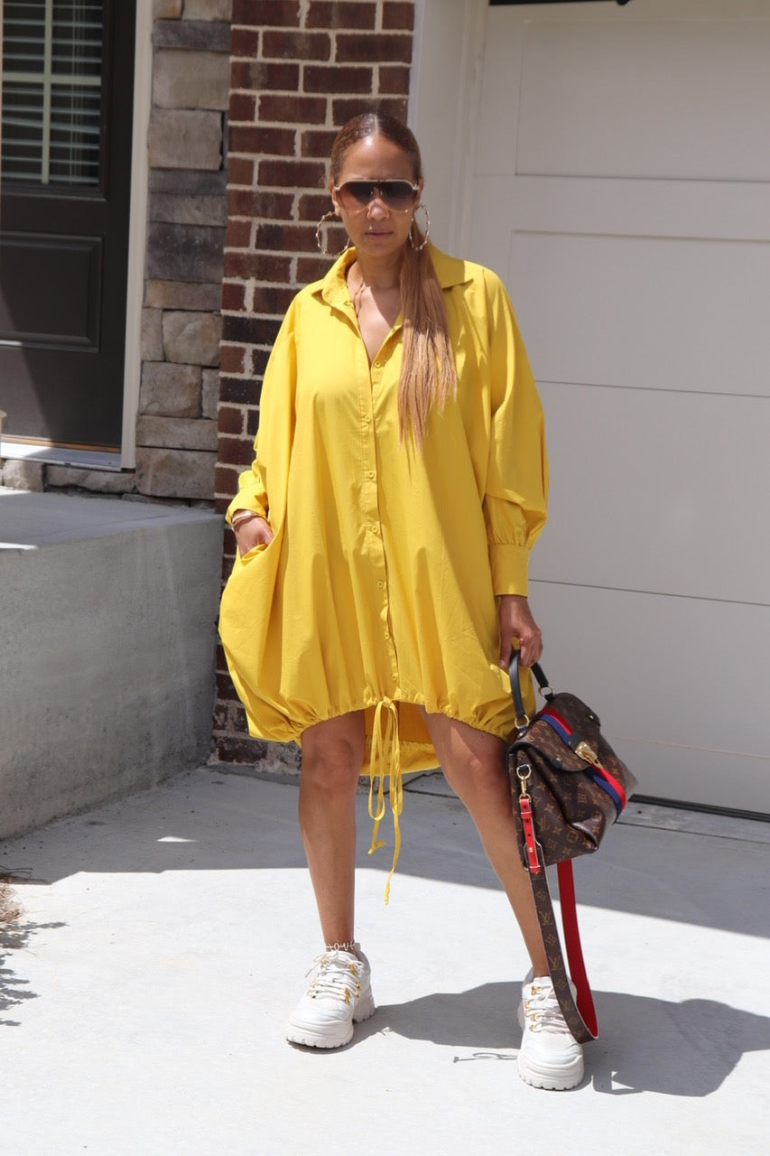 Balloon Mustard Drawstring Dress