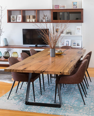 Blackwood Natural Edge Marri Dining Table with Steel Refectory Base