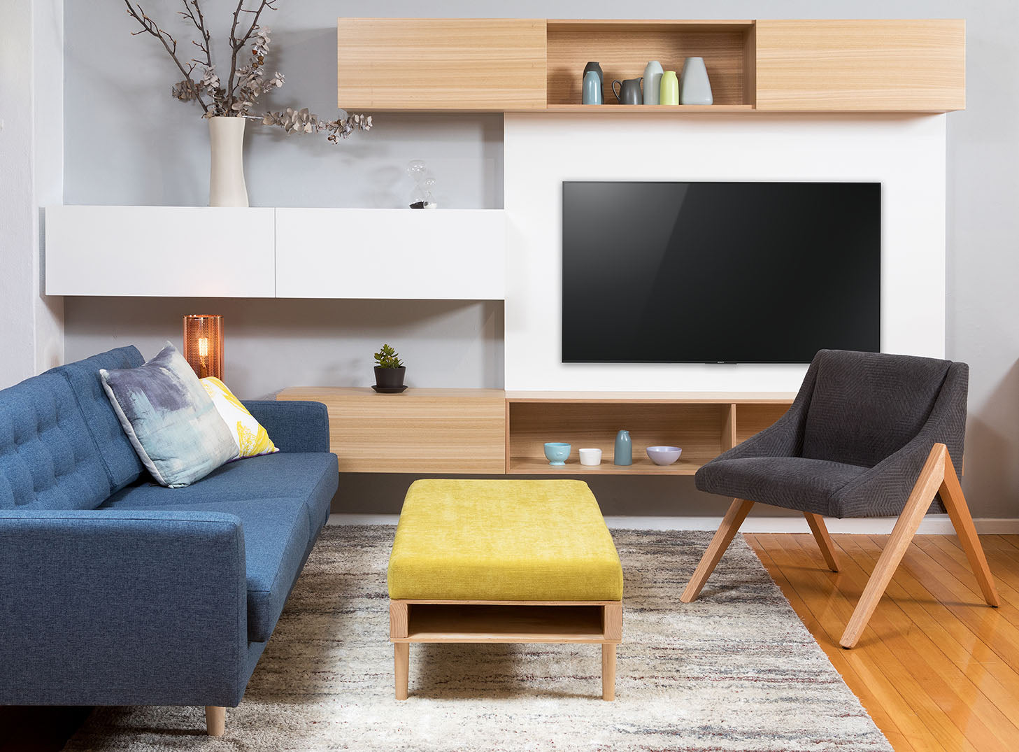 Custom Apartment Floating Lacquer & Timber TV Wall Unit | Bespoke ...