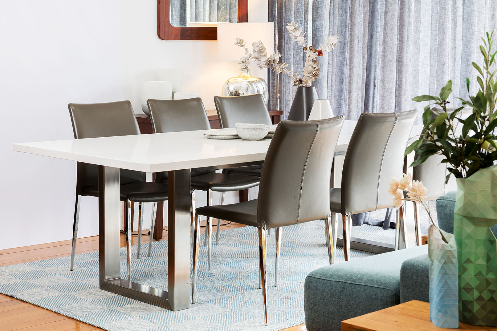 Malta Stone Top Dining Table With Stainless Steel Base