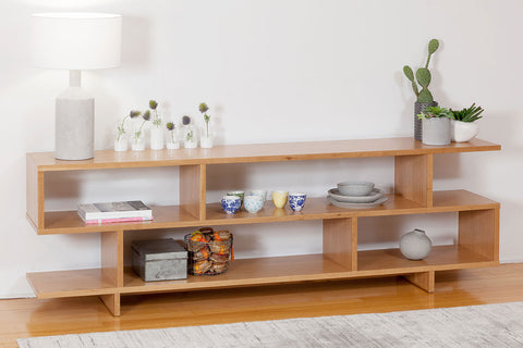 American Oak Modern Fully Customisable Timber Shelving Unit, Made in WA