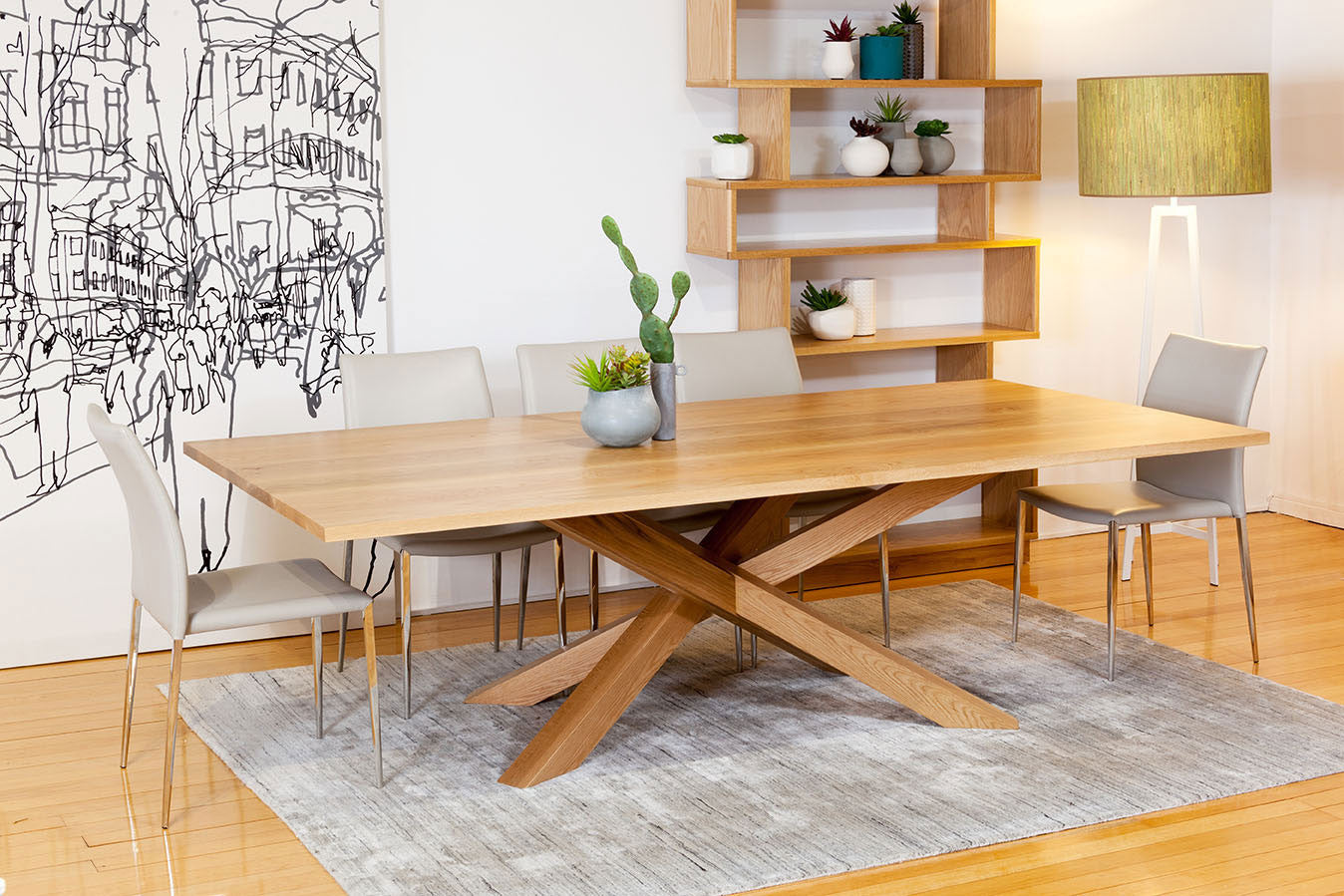 Nedlands Perth Spinifex Solid American Oak Dining Table With Contemporary Base Design Natural Finish And Customisable