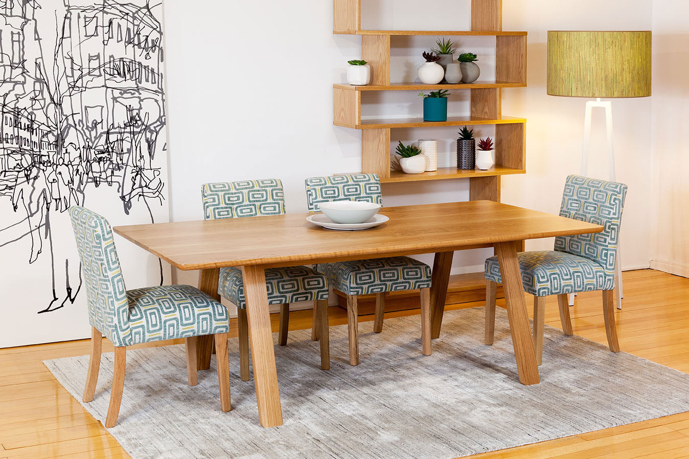 Trestle Solid American Oak Timber Dining Table Featured With Shelving Unit And Marrimeko Wall