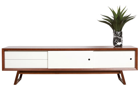 Mad Men inspired solid Jarrah timber lowline TV Unit with white lacquer from, two drawers and two sliding doors