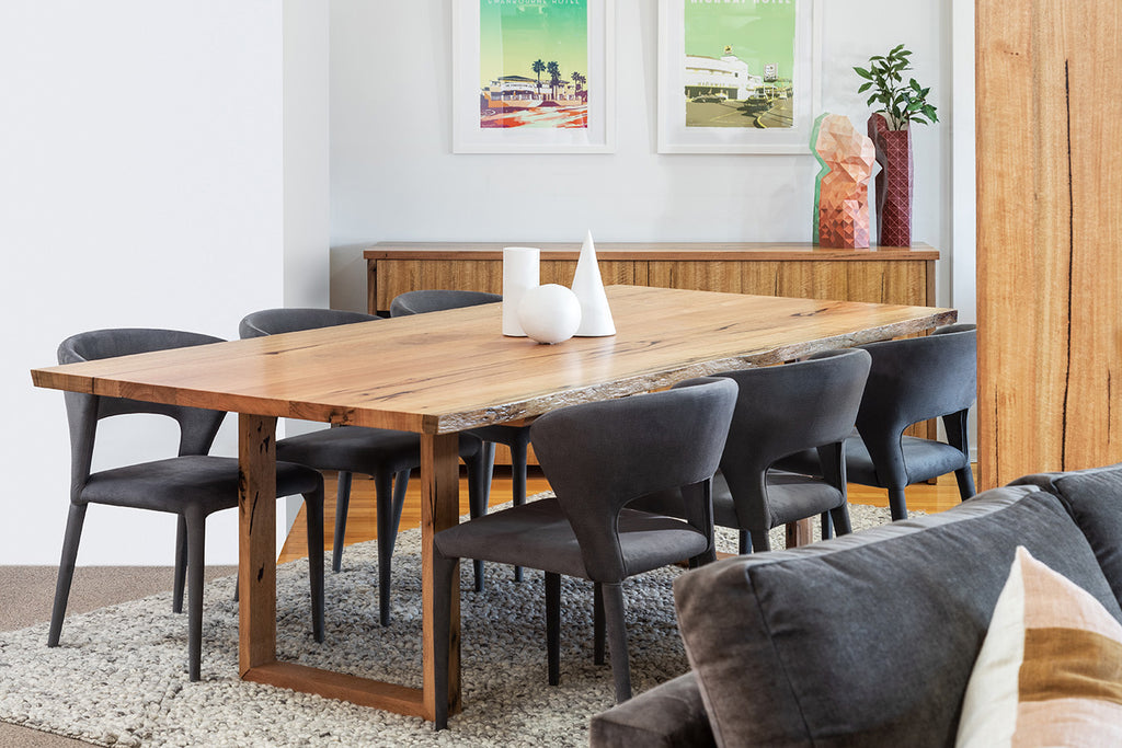Axis solid Marri dining table with natural edge and U shaped timber base