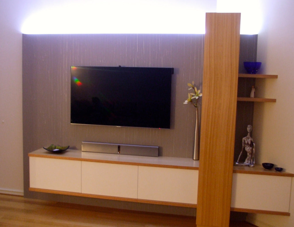 Bespoke Victorian Ash Timber Wood Laquer Custom Wall Unit System with LED Backlighting WA Perth Bespoke Furniture Nedlands