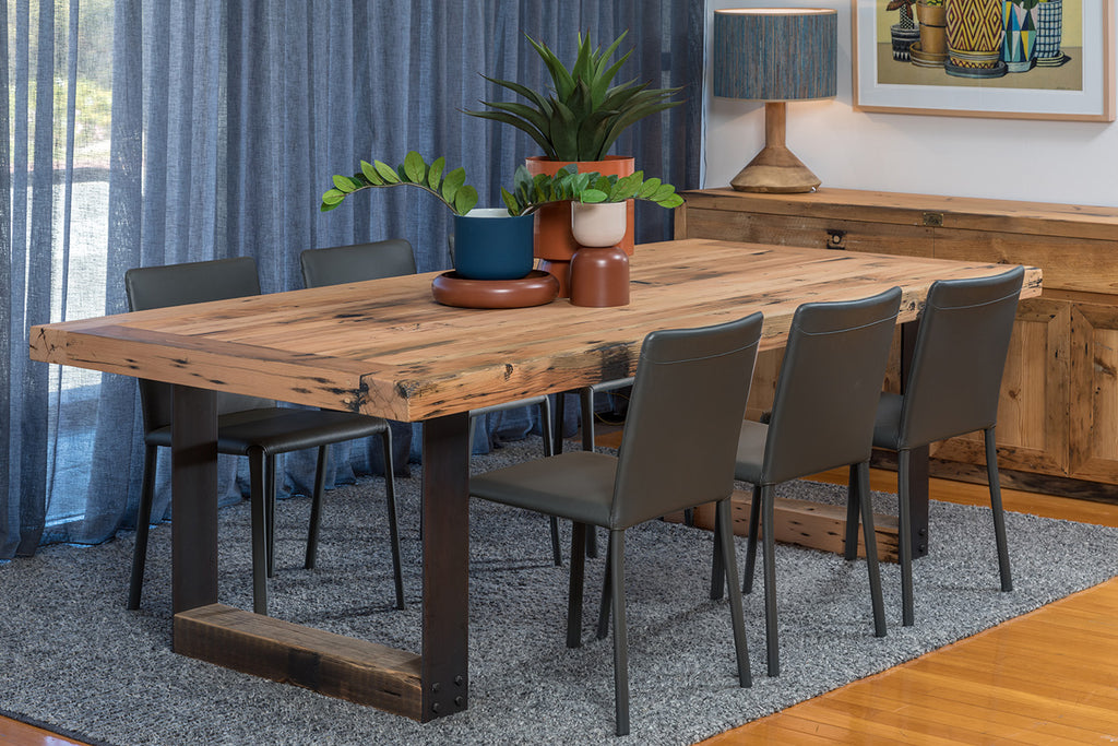 Plaistowe Table - Recycled Baltic with Steel Base