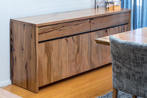 Dwellingup Jarrah or Marri 2 Drawer 4 Door Buffet Sideboard with white Lacquer Fronts