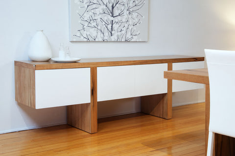 WA Made Solid Timber Marri White Lacquer Front Edge Side Buffet Furniture Unit Perth